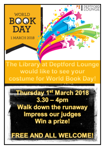 World Book Day - Fancy Dress Competition  @ Deptford Lounge